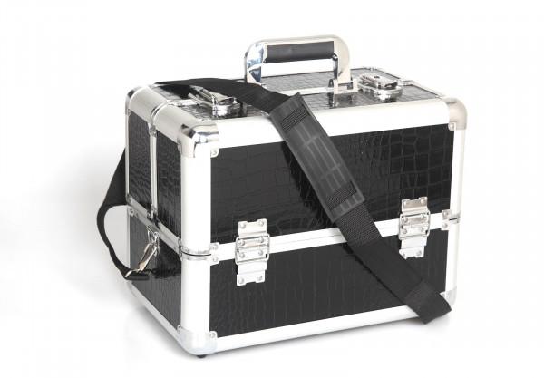 Kosmetikkoffer Kompakt Schwarz Croco Design Rund