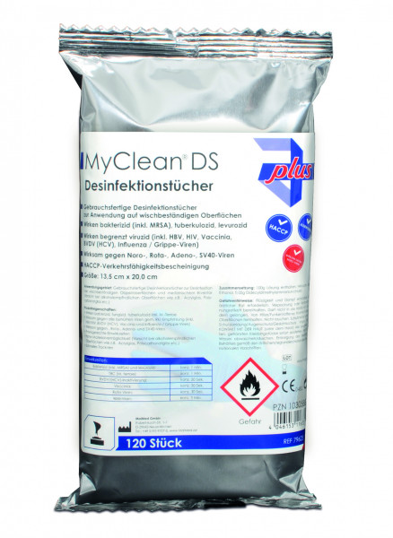MyClean® DS Disinfecting Tissues (neutral) 120 tissues in dispenser box